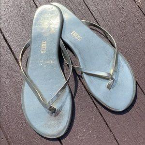 Silver Mirror metallic fabric Tkees 9 flip flops